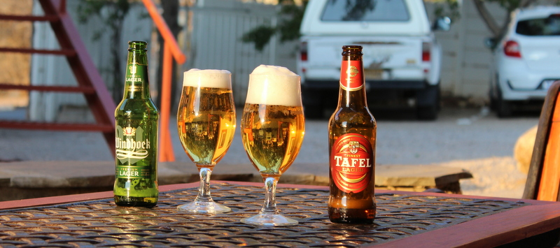 Sundowner with a fresh Namibian Beer